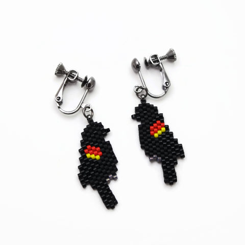 Red Winged Black Bird Clip-on Earrings