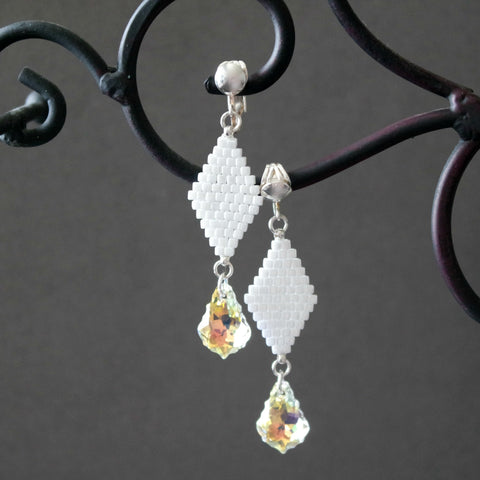 White Beaded Clip-on Earrings With Crystal Aurora Borealis Baroque Accent