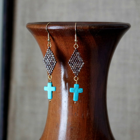 Blue Cross Dangle Earrings With Brown Beaded Geometric Top