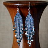 Long Beaded Statement Fringe Earrings In Shiny Blue Iris