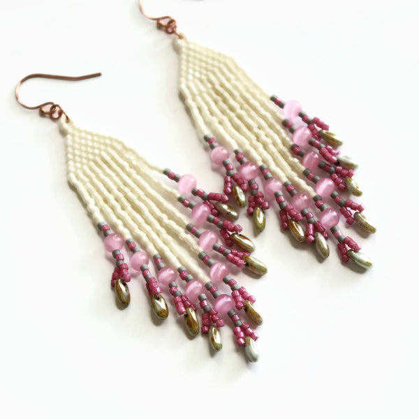 Long Fringe Beaded Pastel Earrings