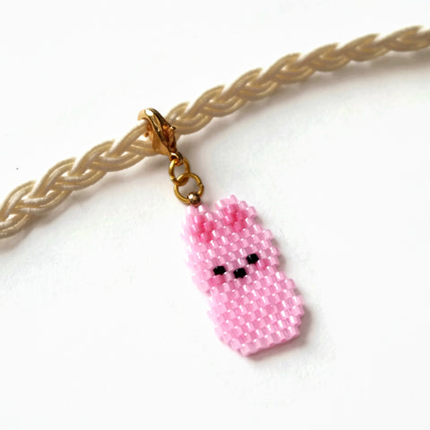 Pink Bunny Planner Charm On Lobster Clasp