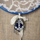Navy Blue Earring Hanger For Wall With Anchor Charm