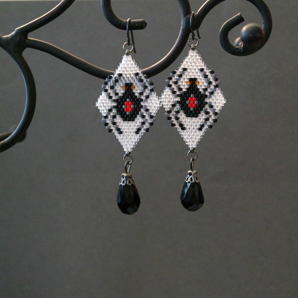 Hand Beaded Black Widow Long Statement Earrings