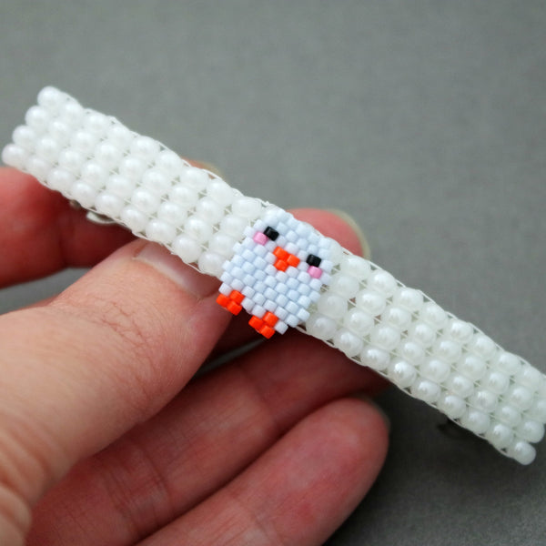 Blue Easter Chick Beaded White Barrette