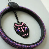 Cat Mask Beaded Wall Decor In Black, Pink, And Blue