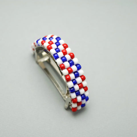 Matte Red, White, And Blue Beaded Ponytail Holder