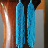 Bright Blue Beaded Shoulder Skimmer Statement Earrings