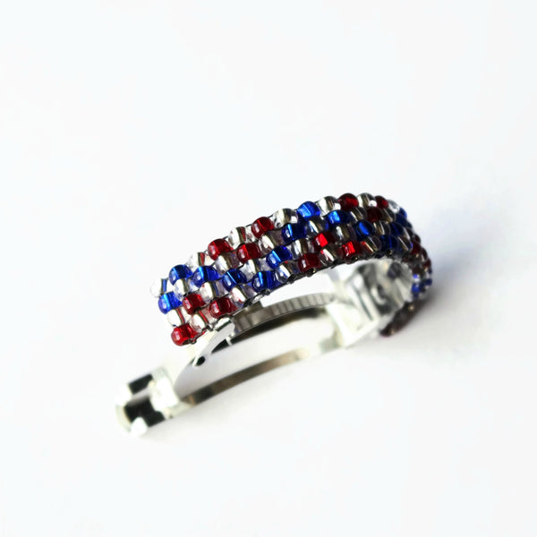 Shiny Red, Blue, And Silver Color Beaded Ponytail Holder