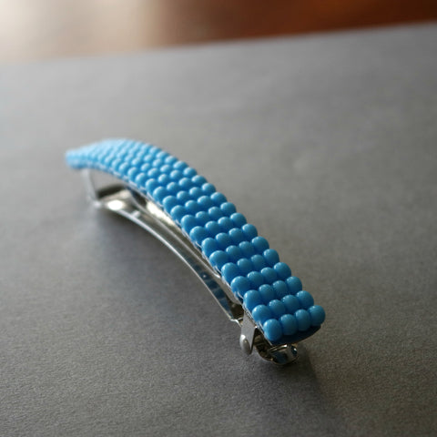 Large Blue Beaded French Barrette, 90mm
