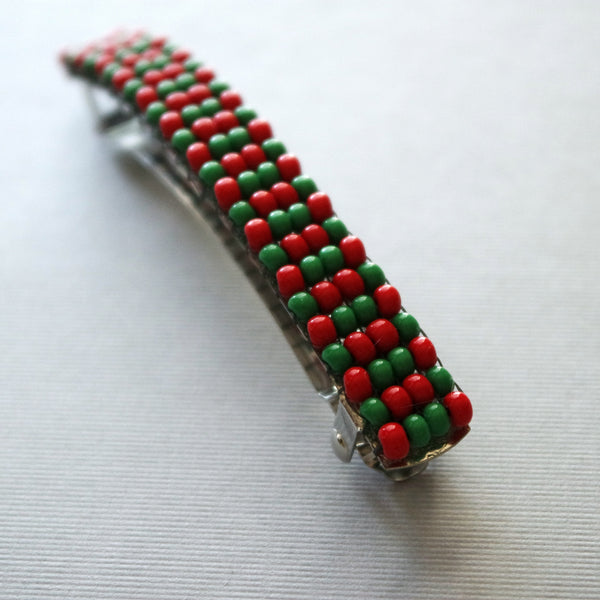 Red Green Holiday Large French Barrette, 90mm
