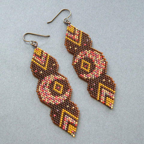 Fall Inspired Long Lunar Statement Earrings