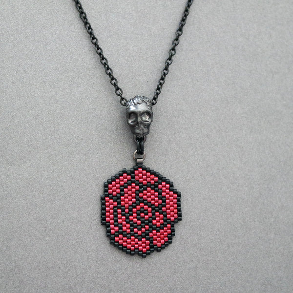 Black And Red Beaded Rose Necklace With Pewter Skull Slider Charm