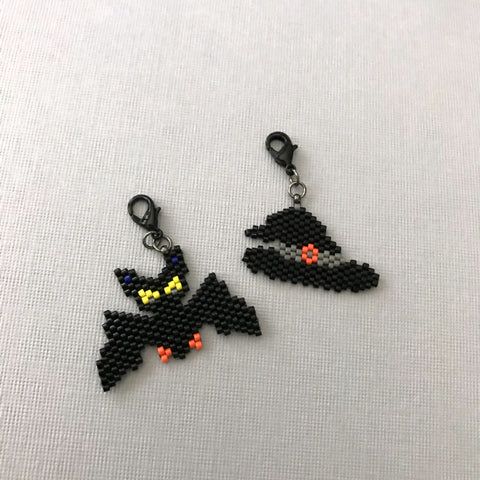 Witch Hat And Bat Beaded Charms