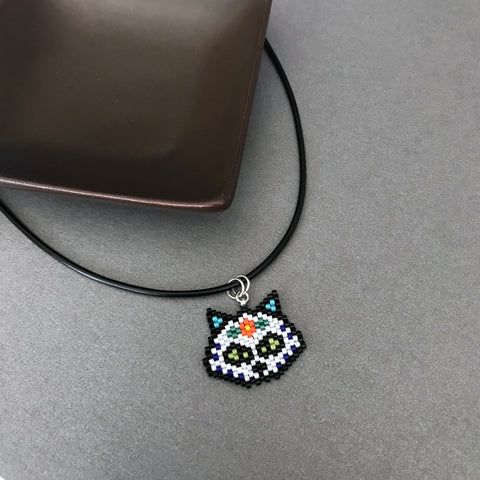 Sugar Skull Cat Beaded Necklace On Adjustable Black Cord