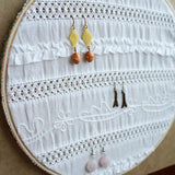 Decorative White Fabric Earring Hanger In Use