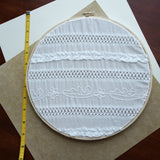 Decorative White Fabric Earring Hanger Size Comparison