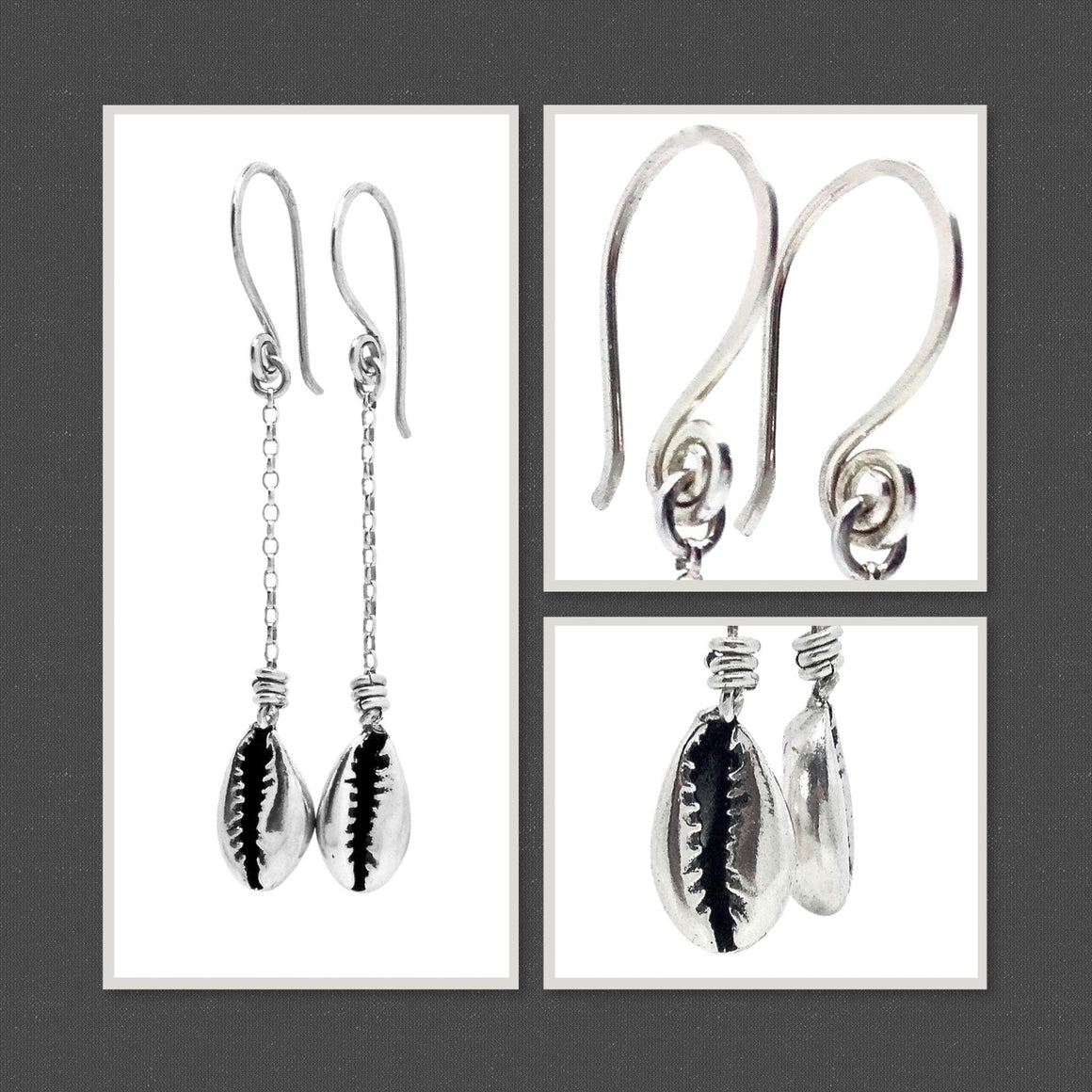 Cowrie shell chain drop earrings