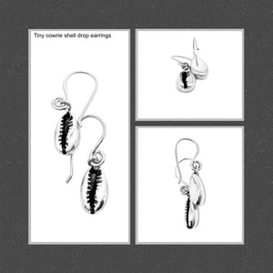 Cowrie shell drop earrings