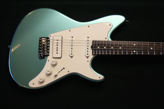 Grosh ElectraJet Custom Ice Mint Metallic Pickups