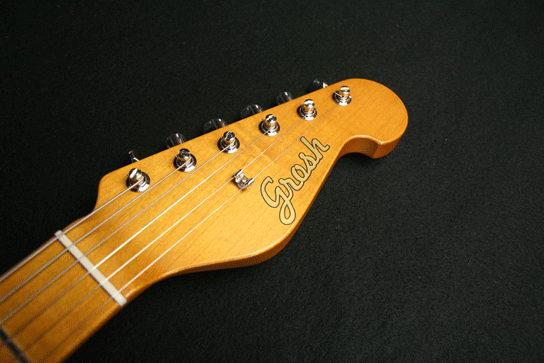 Grosh NOS Retro Alder Maple '59 Burst Headstock