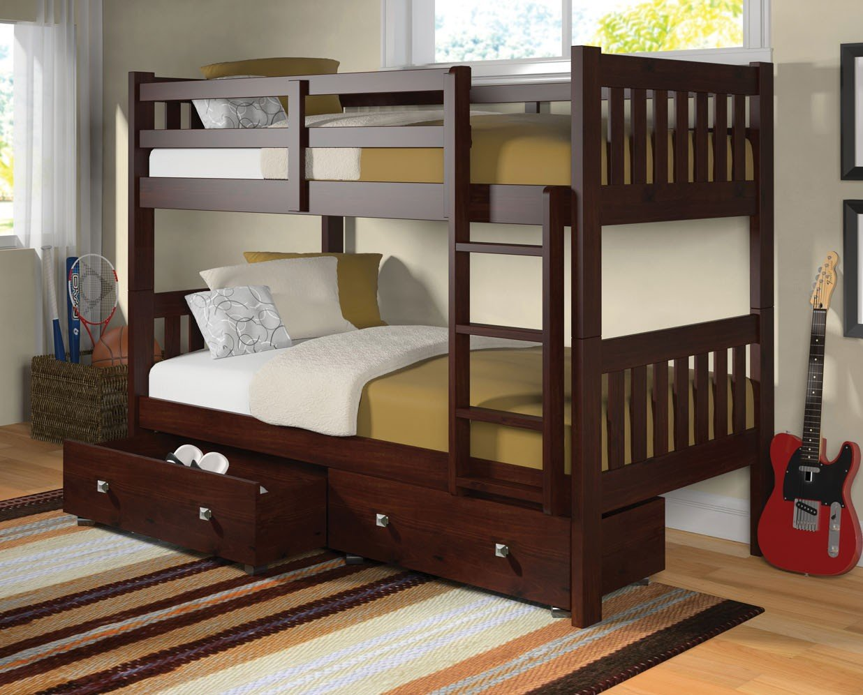 Dark Cappuccino Full over Full Drawer Bunkbed
