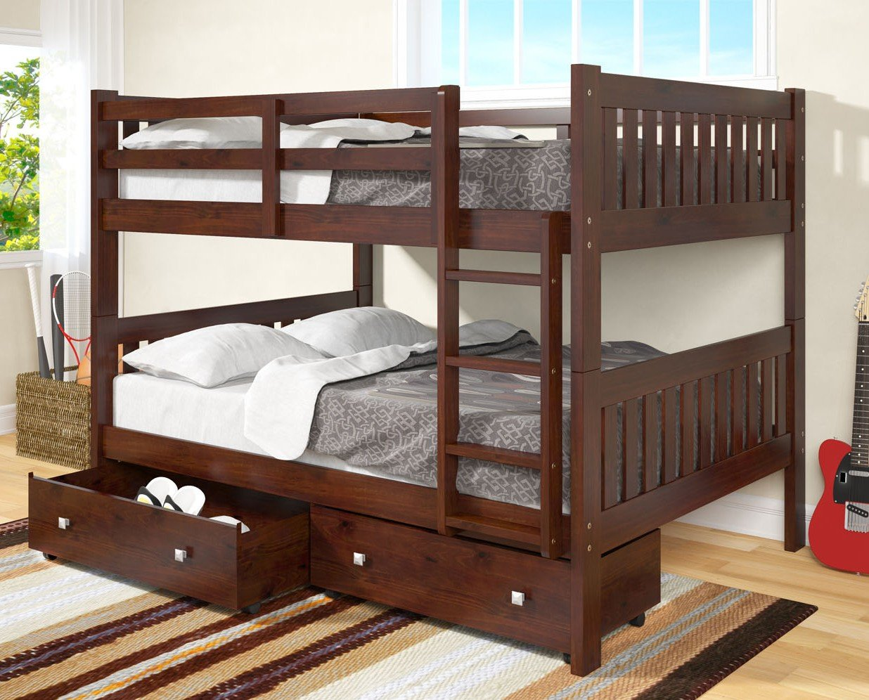 Dark Cappuccino Twin over Twin Drawer Bunkbed