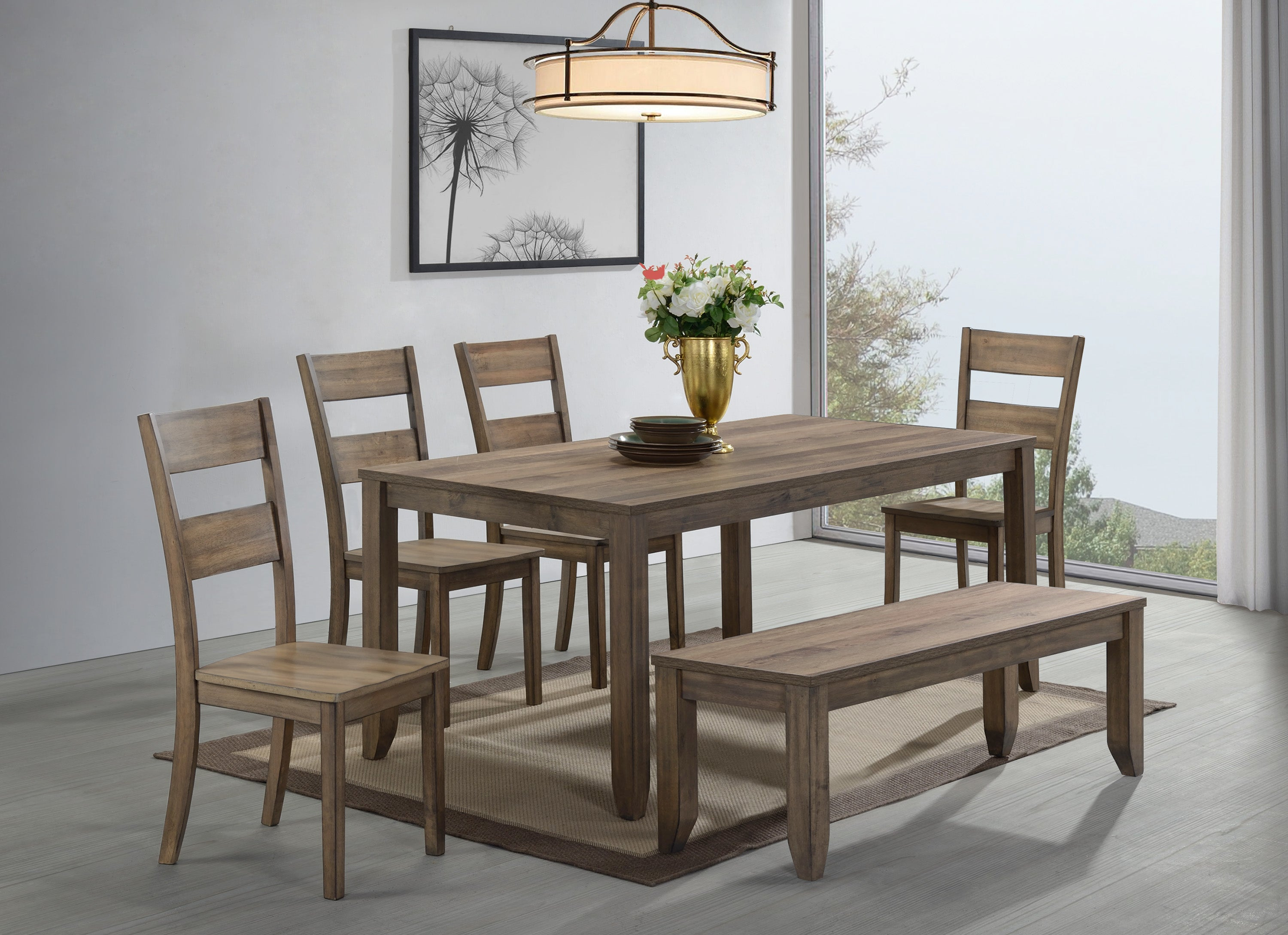 Farmhouse Brown Dining Set