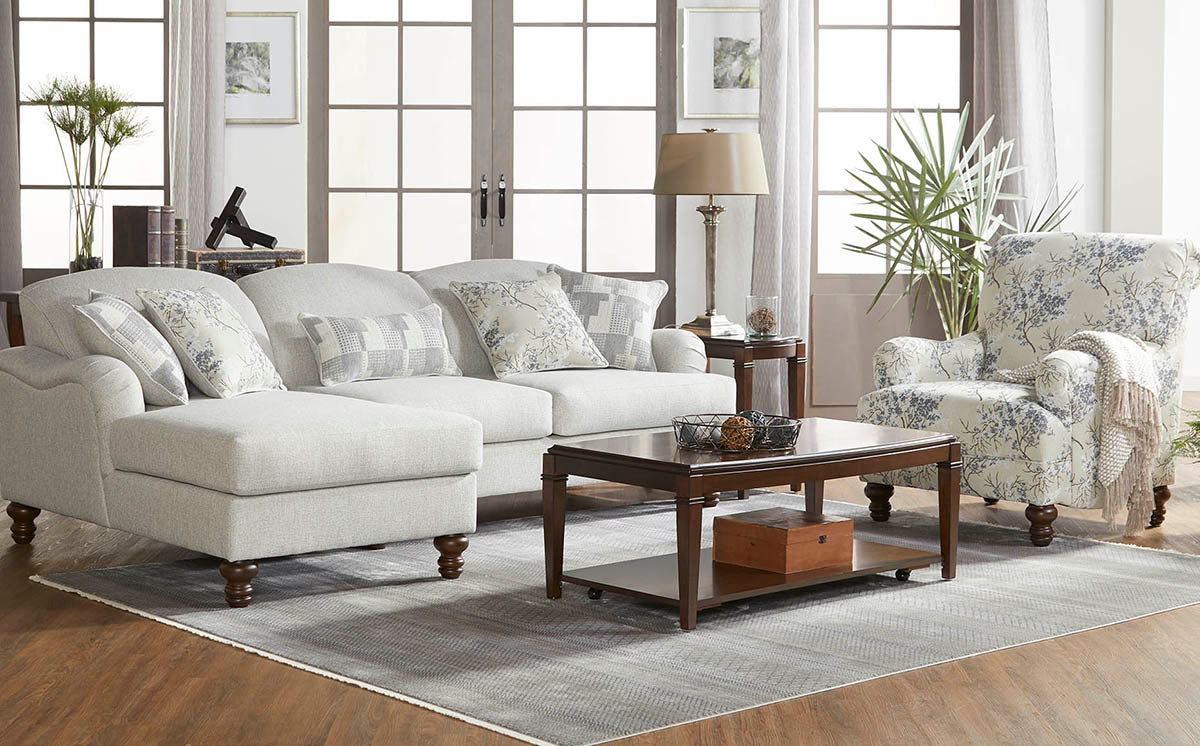 Farmhouse Eggnog Chaise Sofa