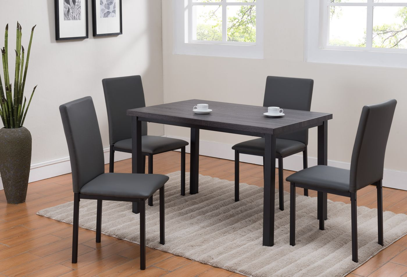 Orlo Gray and Black Dining Set