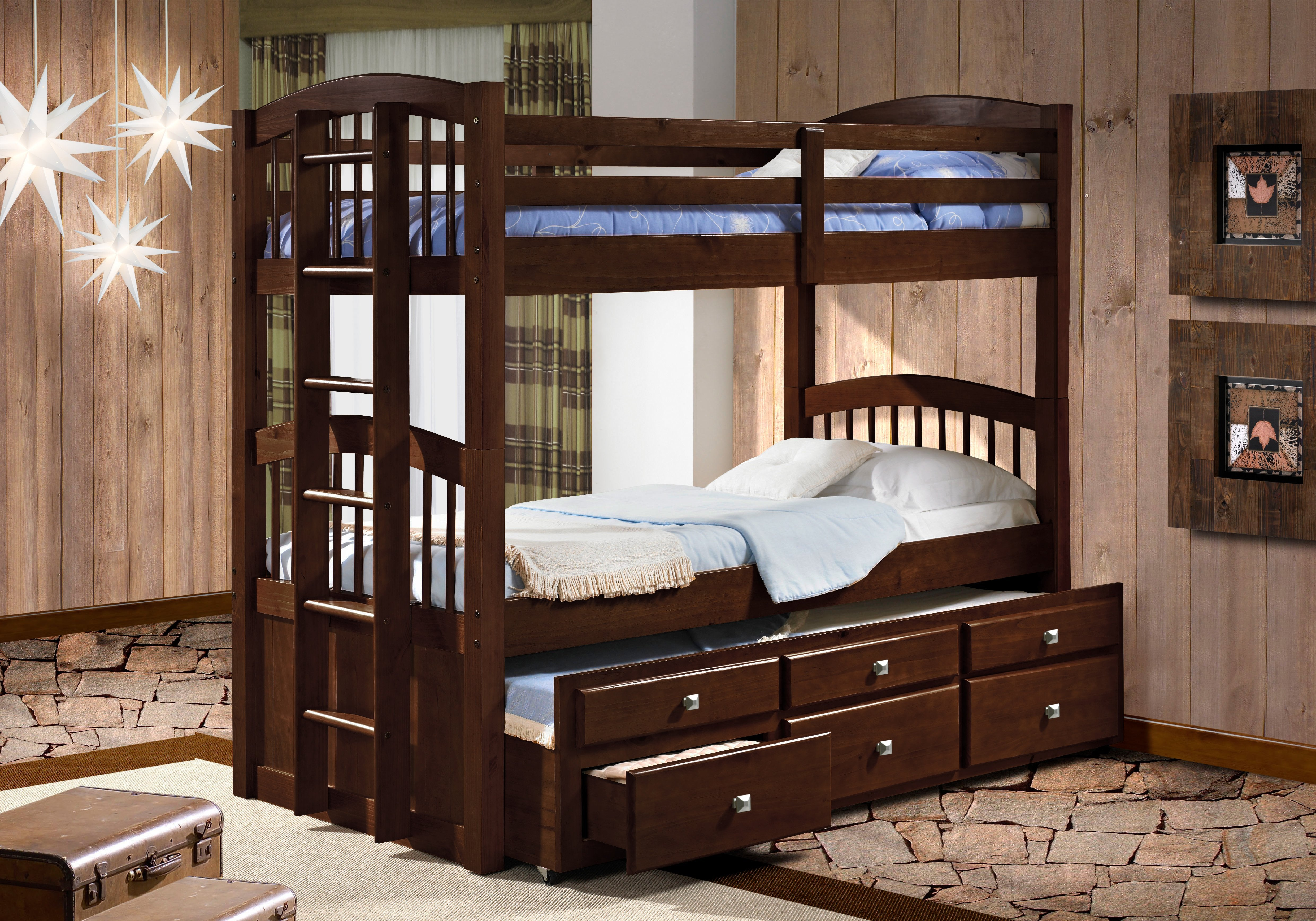 Cappuccino Captain Trundle Twin over Twin Bunkbed