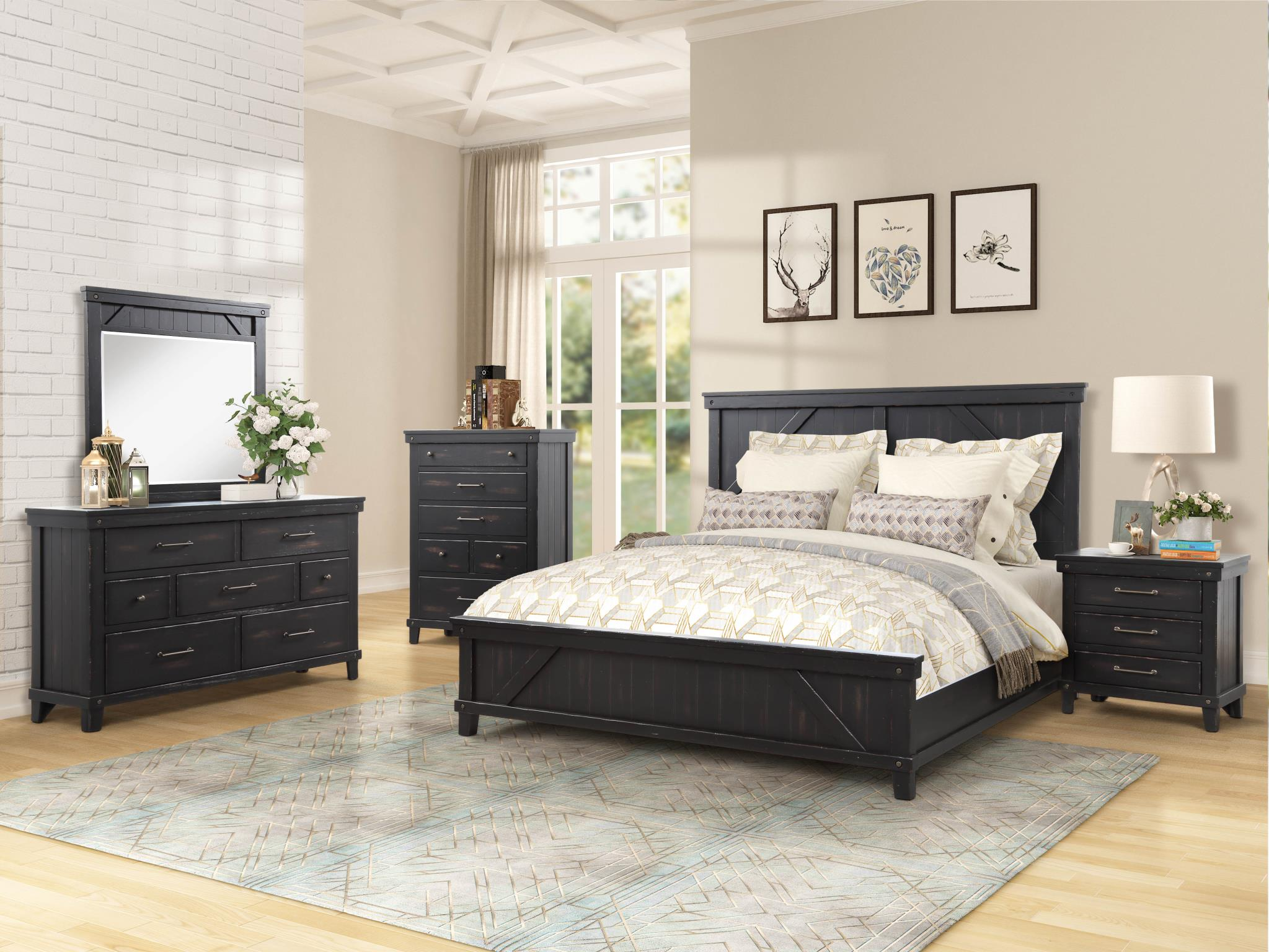 Spruce Creek Farmhouse Black King Bedroom Set My Furniture Place