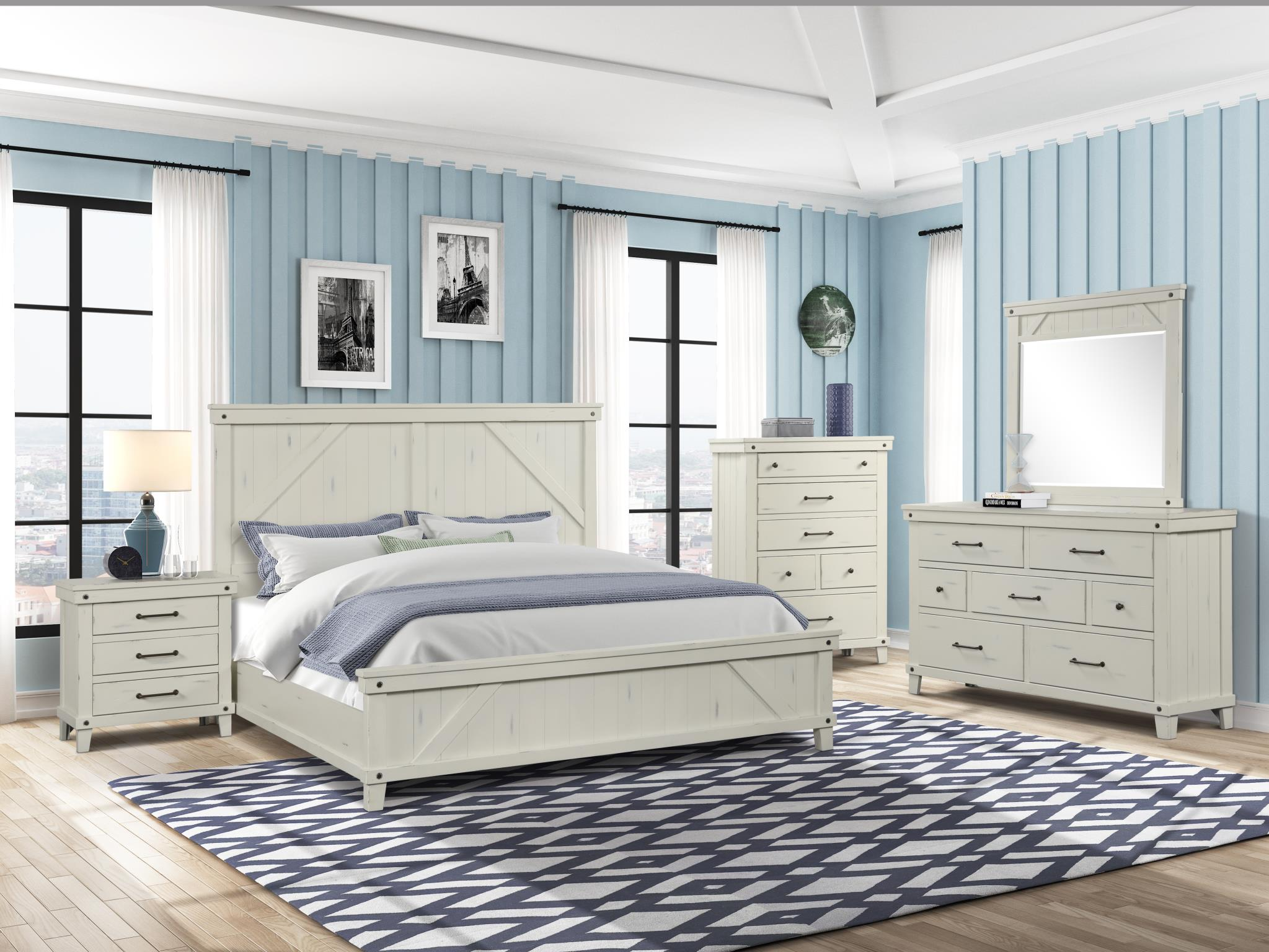 Spruce Creek Farmhouse White King Bedroom Set My Furniture Place