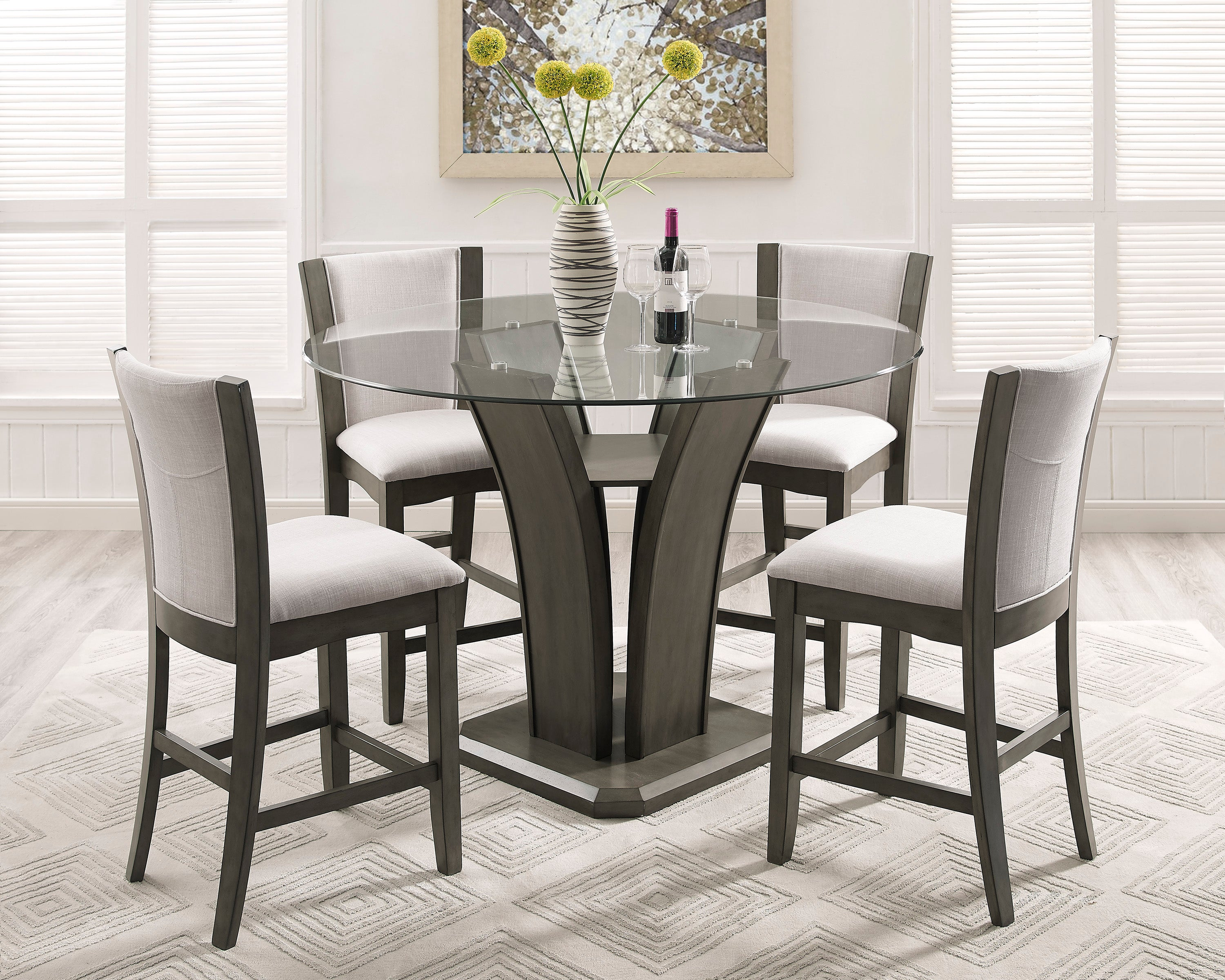 Camelia Round Grey Counter Dining Set