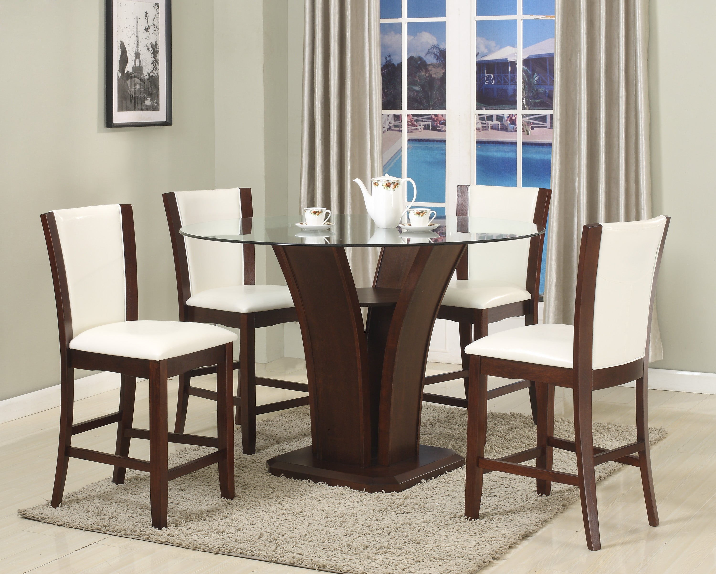 Camelia Round White Counter Dining Set