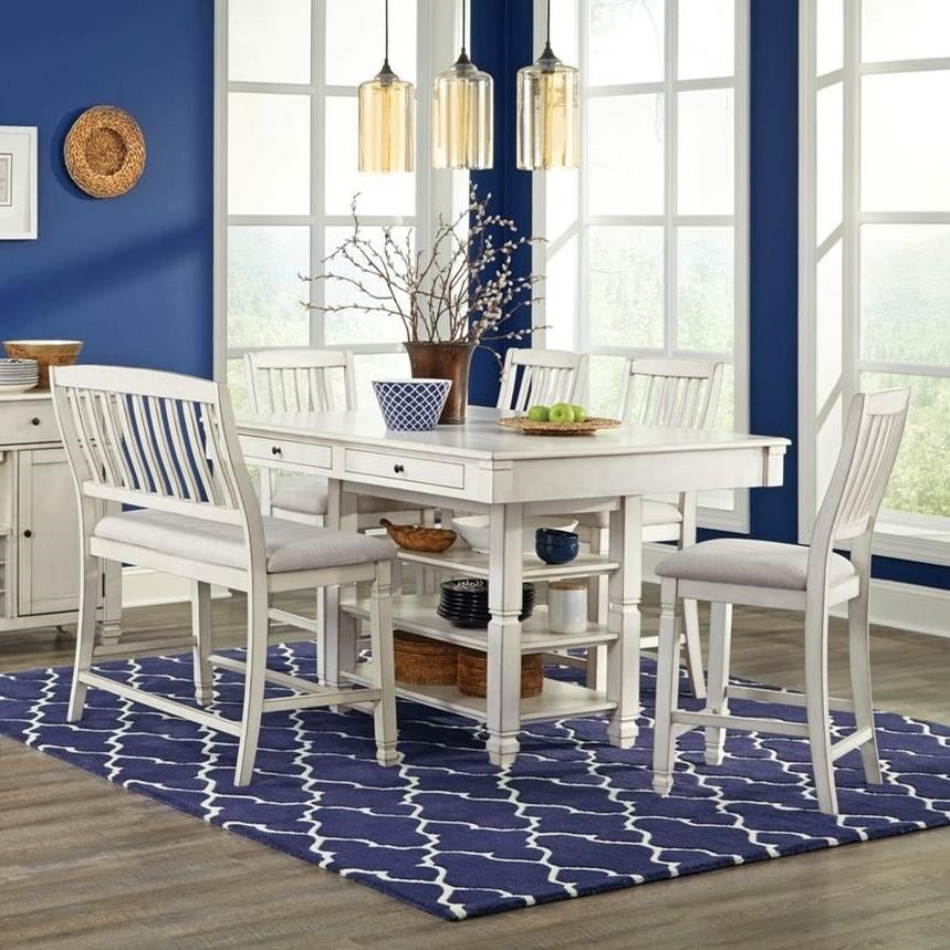 White Rubbed Dinette with Four Pub Stools and Bench
