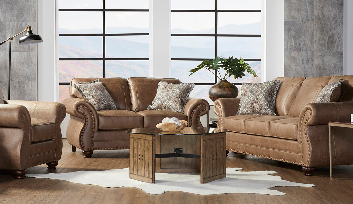 Jetson Ginger Sofa and Loveseat