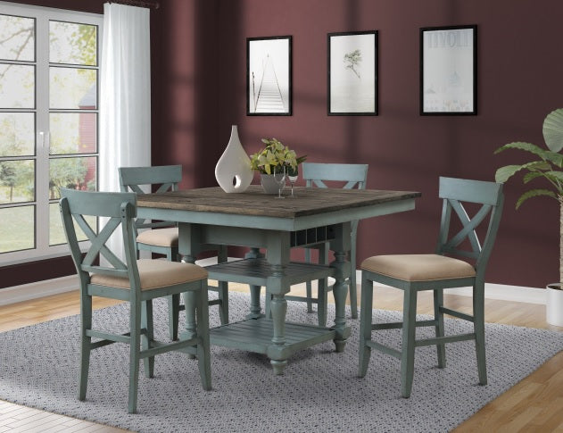 Robins Egg Counter Farmhouse Dining Set