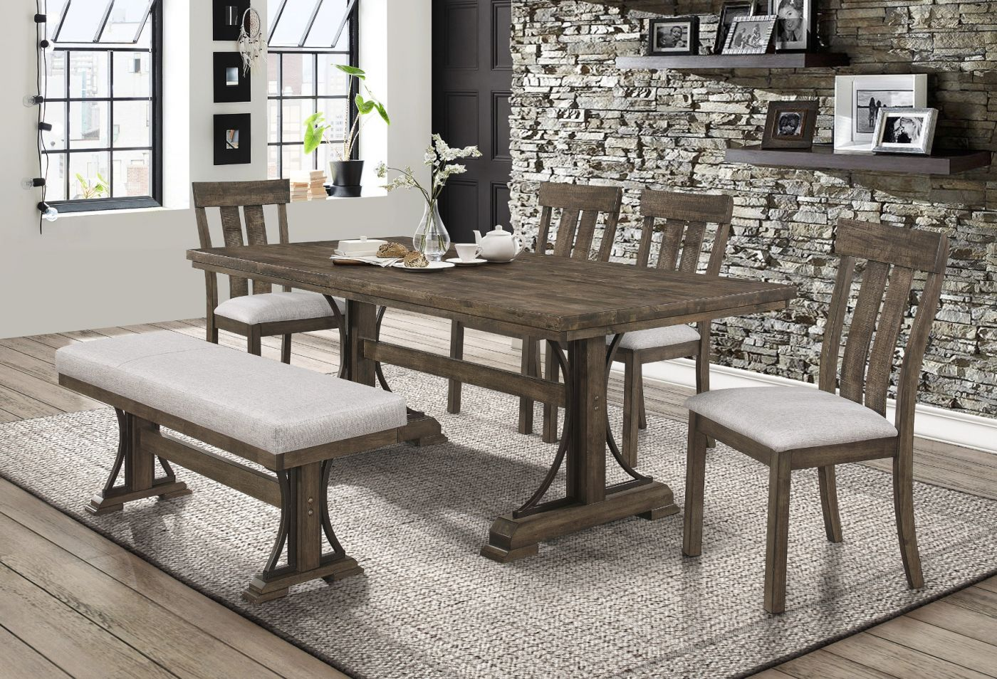 Quincy Butcher Block Dining Set My Furniture Place