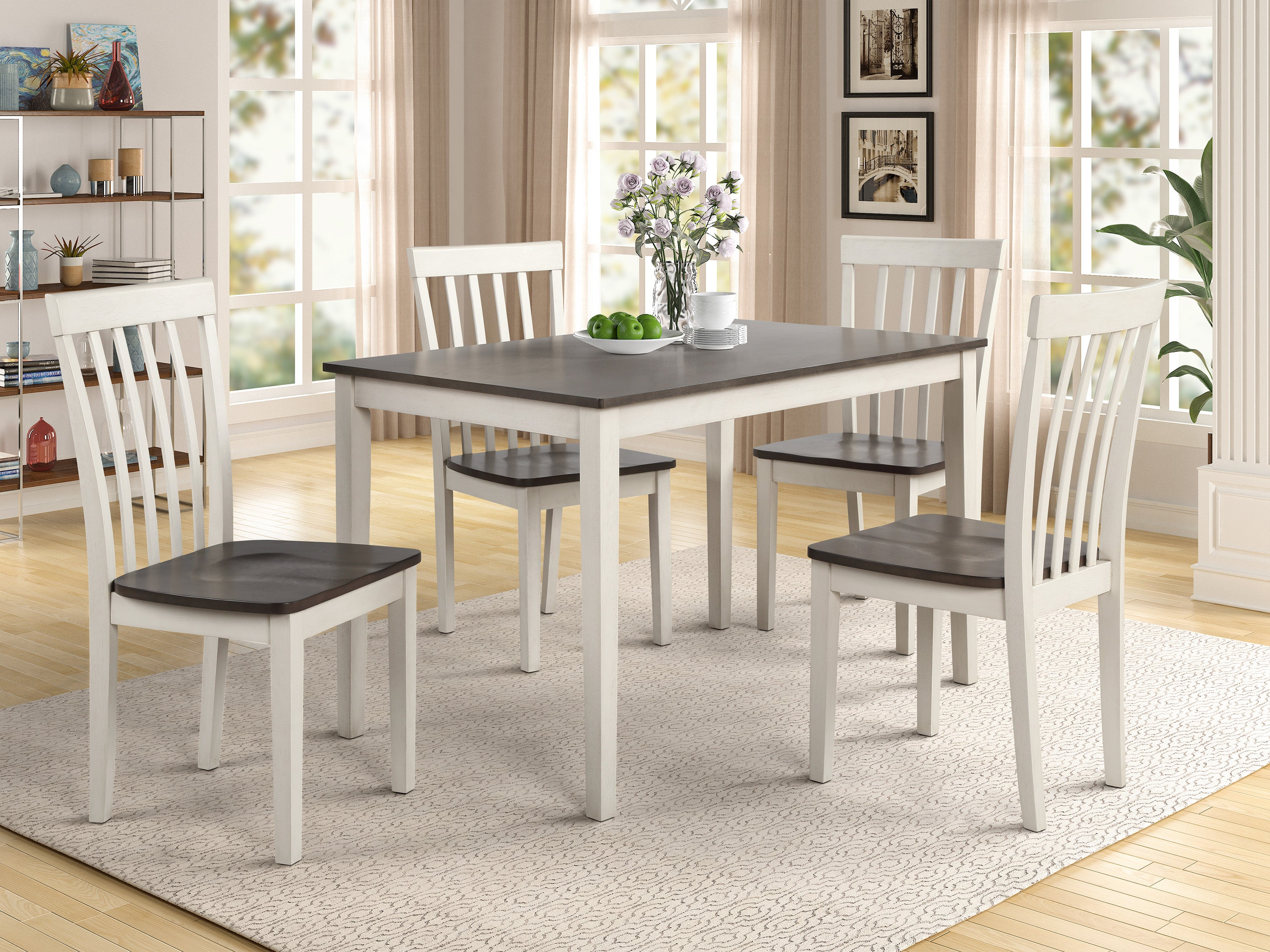Farmhouse White and Gray Dinette Set