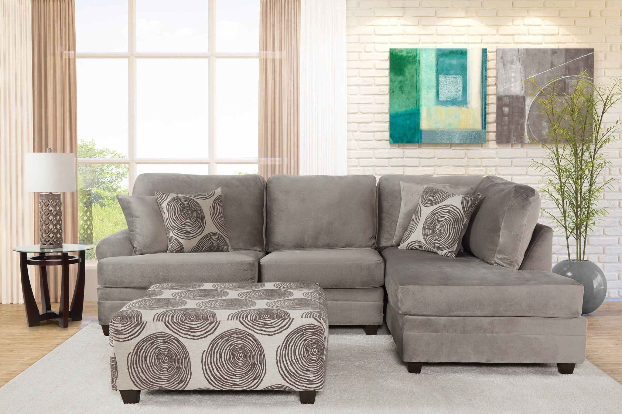 Olympian Silver Chaise Sectional