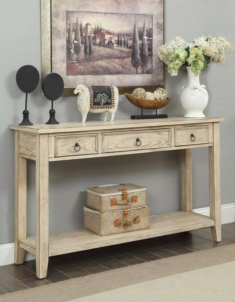 Burnished Cream Console