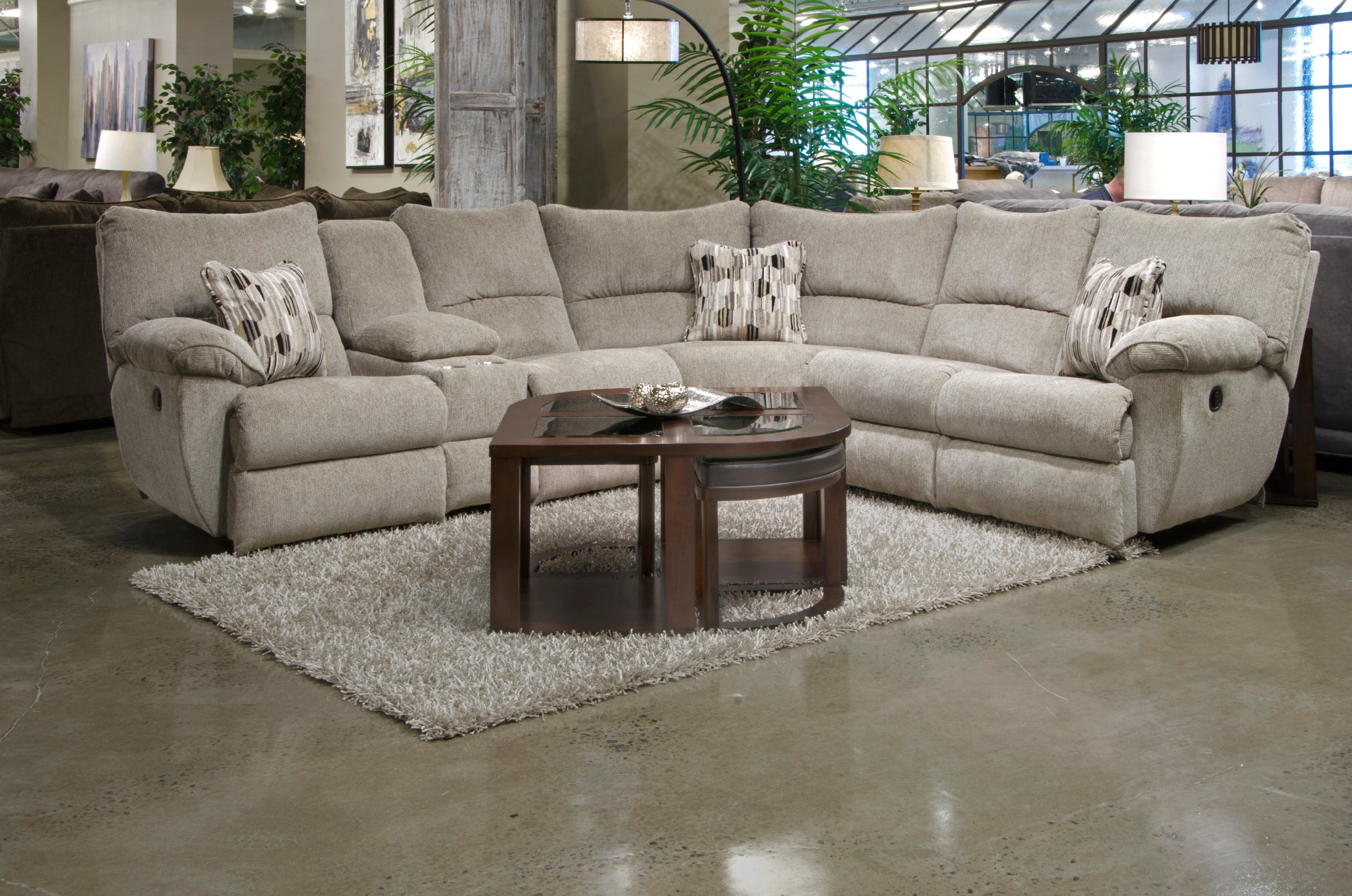 Admirable Elliott Pewter Reclining Sectional Gmtry Best Dining Table And Chair Ideas Images Gmtryco