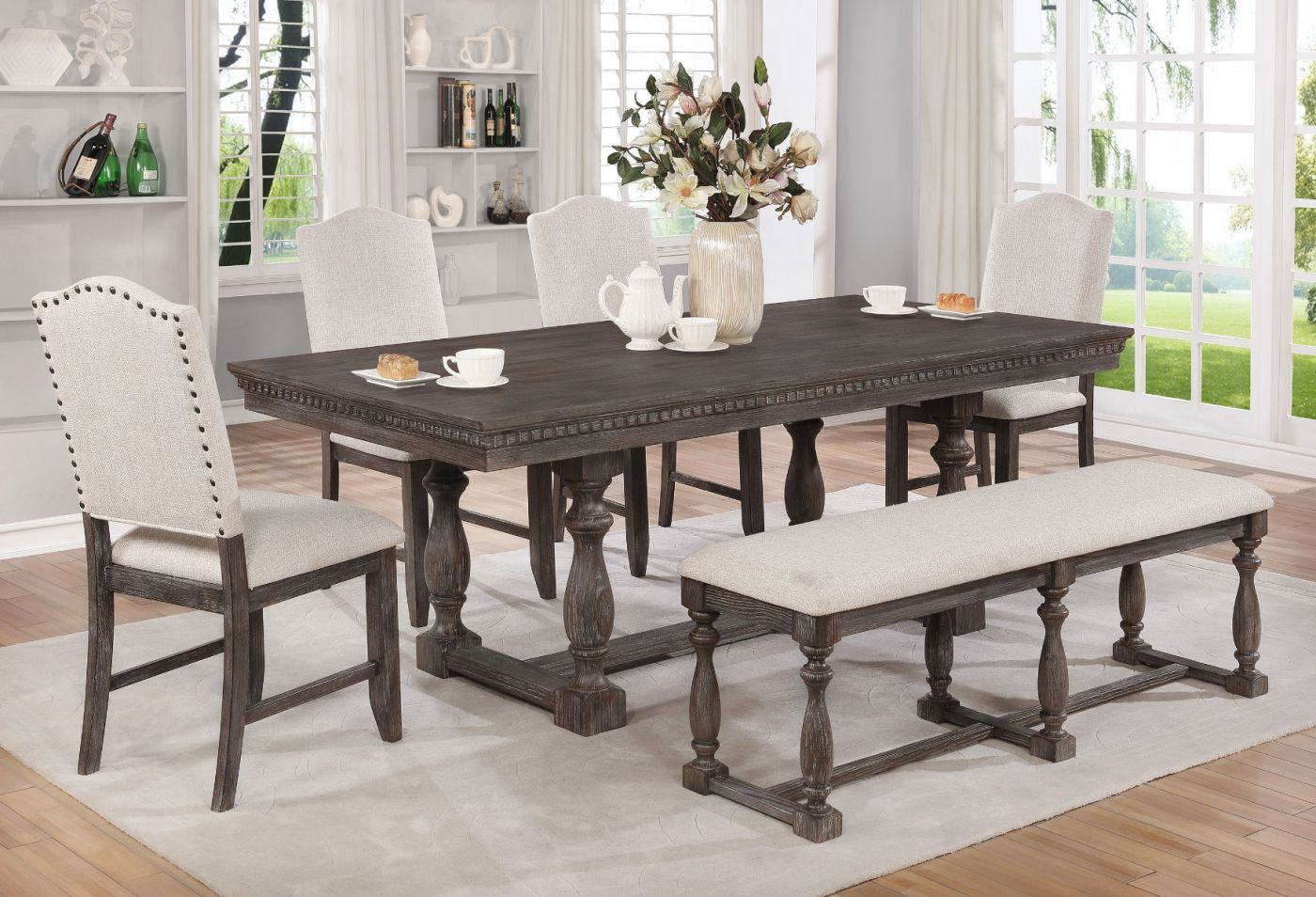 Regent Weathered Grey Dining Set