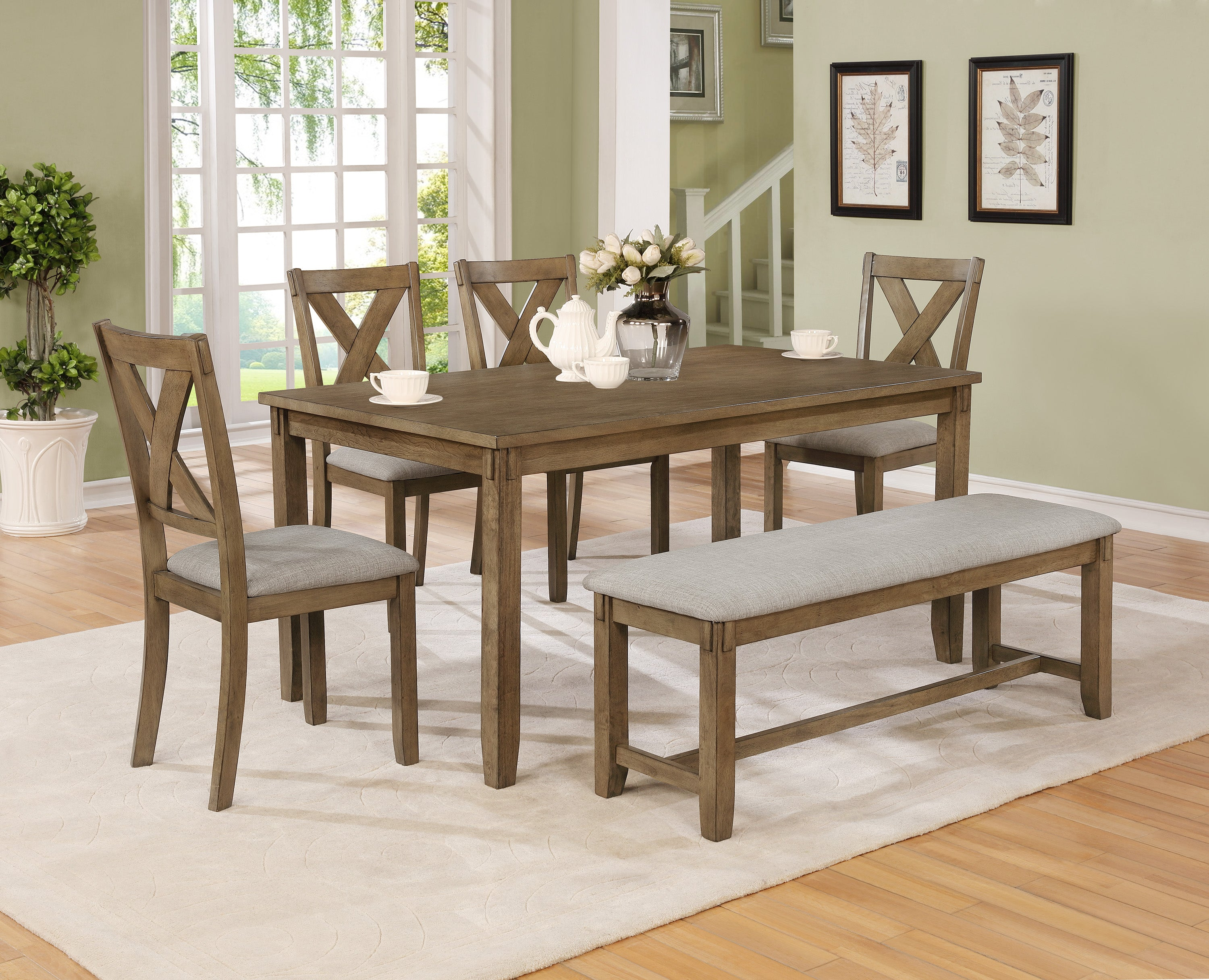 Clara Brown Dining Set with Bench