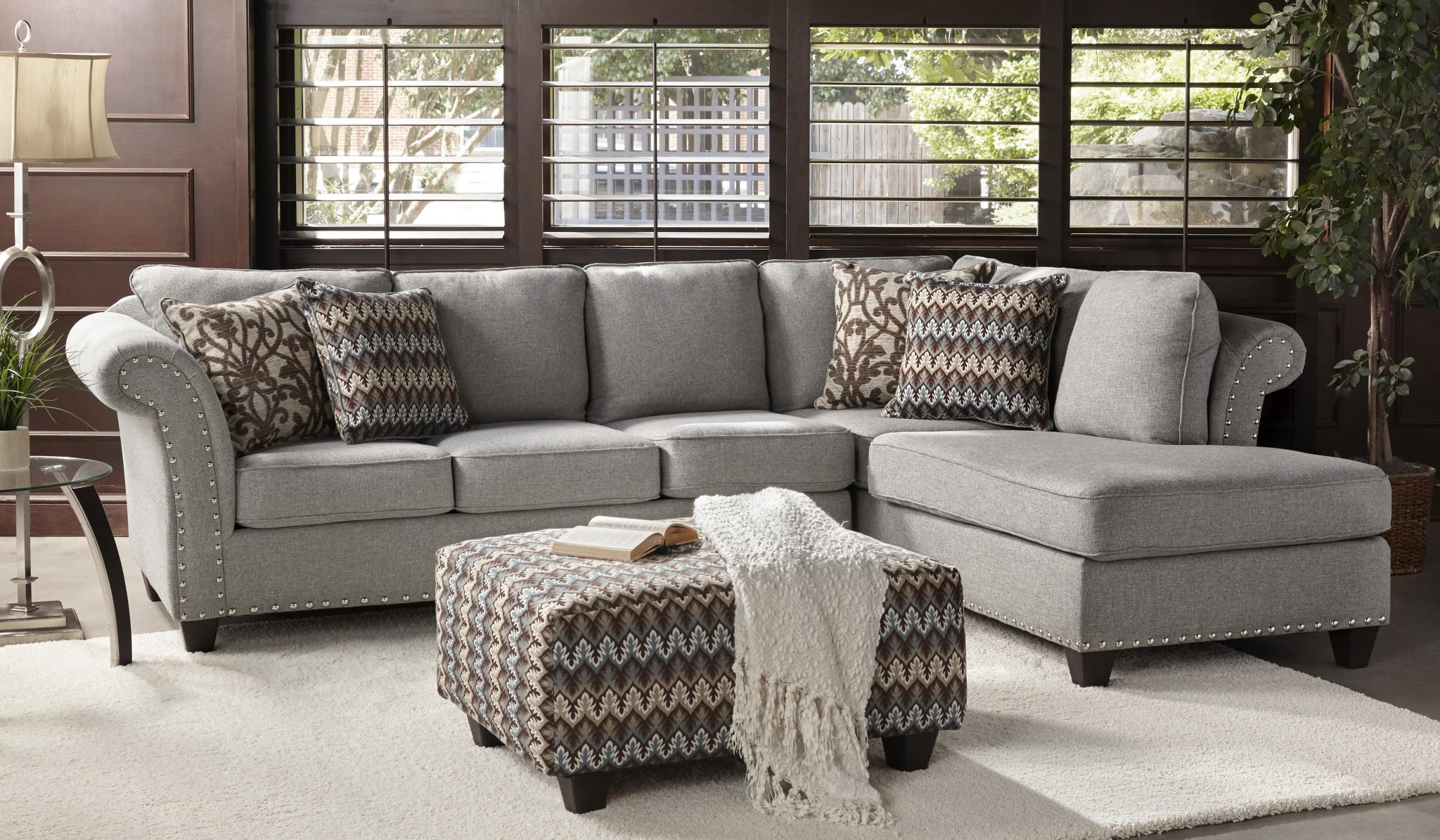 Gray and Silver Chaise Sofa