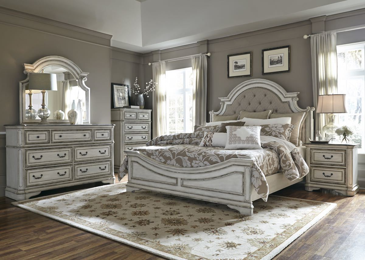 Antique White King Bedroom Set My Furniture Place