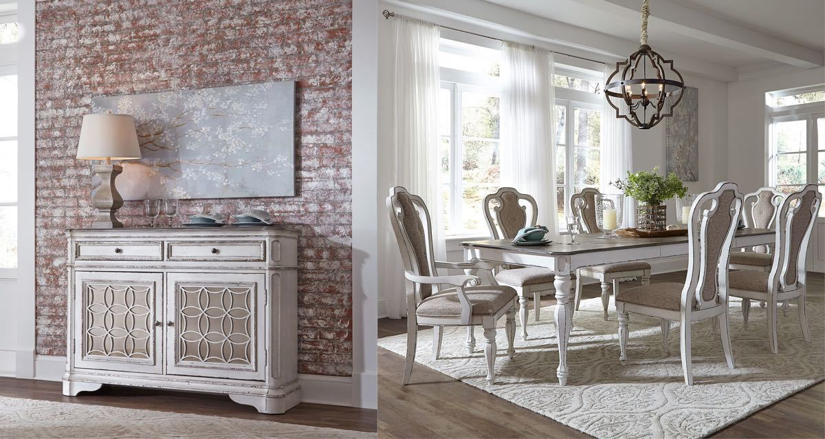 Antique White 8 Piece Dining Room Collection