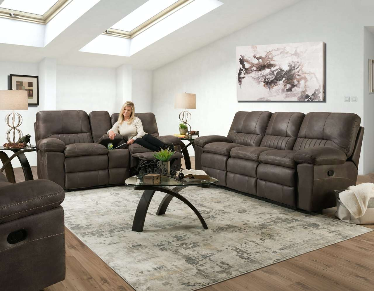 Commander Steel Gray Reclining Sofa and Loveseat