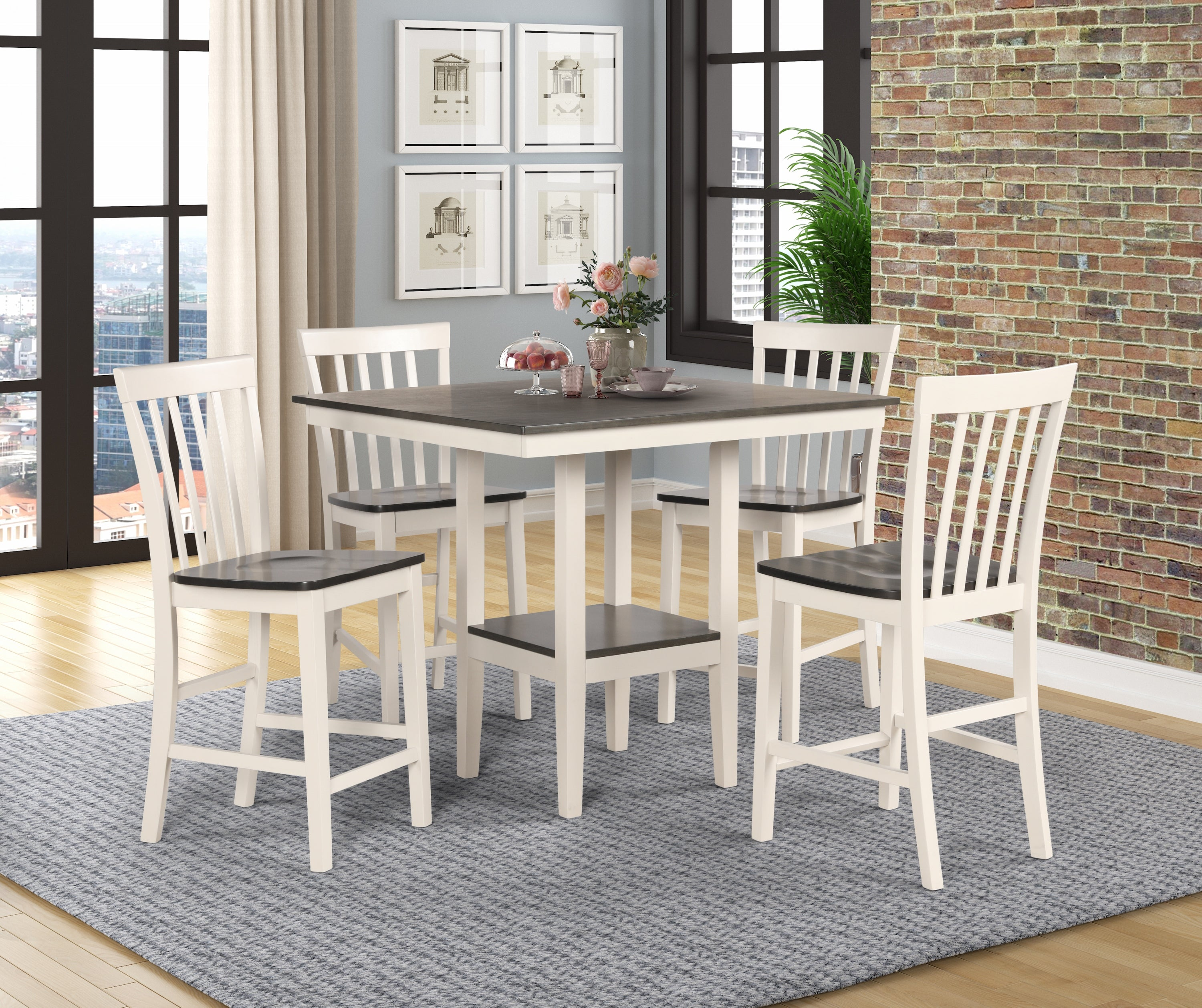 Farmhouse Cream and Gray Counter Dining Set